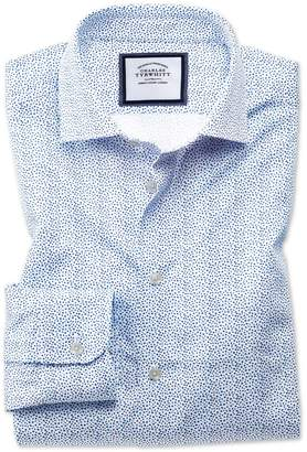 Charles Tyrwhitt Slim Fit Semi-Spread Collar Business Casual White and Blue Ditsy Print Cotton Dress Shirt Single Cuff Size 14.5/33