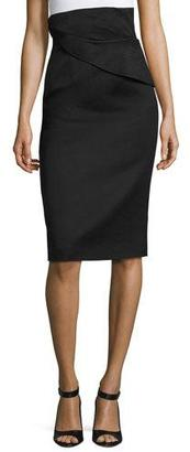 Brandon Maxwell Folded Waist Pencil Skirt, Black $1,295 thestylecure.com