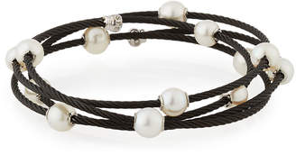 Alor Cable Wrap Bangle w/ Freshwater Pearls, Black