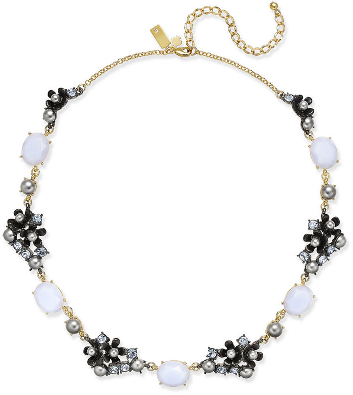 Kate Spadekate spade new york Two-Tone Imitation Pearl and Stone Flower Collar Necklace