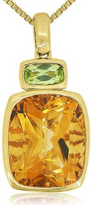 FINE JEWELRY Citrine & Peridot 14K Yellow Gold Over Silver Pendant Necklace
