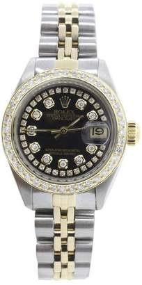 Rolex Datejust 6917 18K Yellow Gold & Stainless Steel Jubilee Black Diamond Dial and Bezel 26mm Womens Watch