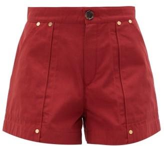 Chloé High Rise Cotton Poplin Shorts - Womens - Dark Red