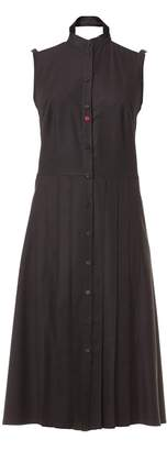 Talented - Pleated Front Bare Shoulders Dress with Side Pockets