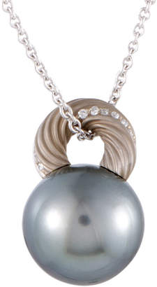 Mikimoto 18K Diamond & 13-14Mm Pearl Necklace