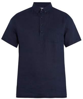 Onia Josh Short Sleeved Linen Polo Shirt - Mens - Navy