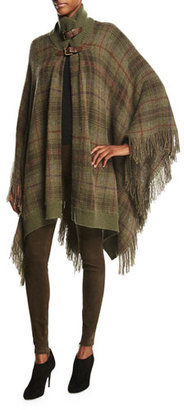 Ralph Lauren Collection Plaid Cashmere Turtleneck Poncho, Dark Loden Tartan $2,450 thestylecure.com