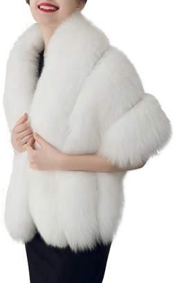 Simplee Apparel Women's Winter Warm Fox Faux Fur Jacket Scarf Cape