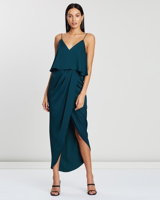 Shona Joy Luxe Draped Cocktail Frill Dress