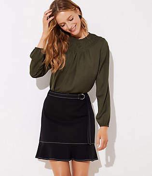 LOFT Tie Waist Ponte Flippy Skirt