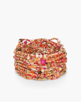 Wide Warm Seed Bead Stretch Bracelet