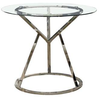 Furniture of America Landis Modern Round Counter Height Dining Table, Chrome