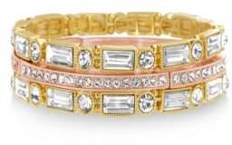 Catherine Malandrino Women's White Baguette And Round Shaped Rhinestone Yellow Gold-Tone Trio Stretch Bracelet Set