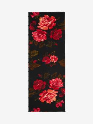 Alexander McQueen Painted Roses Selvedge Scarf