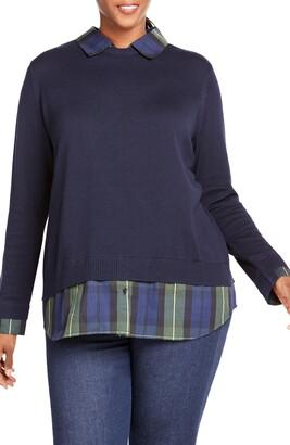 Foxcroft Shoshanna Lenox Tartan Combination Sweater