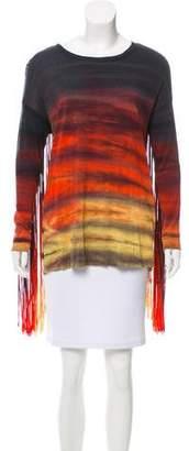 Raquel Allegra Fringe-Trimmed Tie-Dye T-Shirt w/ Tags