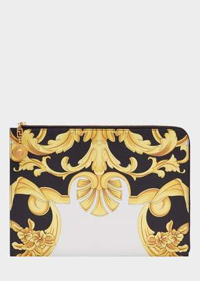 Versace Leather Barocco Print Pouch
