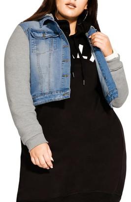 City Chic Hooded Knit Sleeve Denim Jacket
