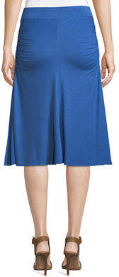 Three Dots Side-Ruched Tea-Length Skirt