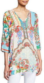 Resort Printed Button-Down Tunic Blouse