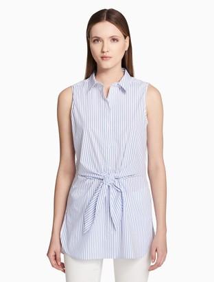 Calvin Klein striped tie front sleeveless blouse
