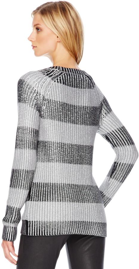 Michael Kors Metallic Striped Sweater
