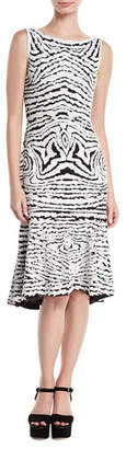 Naeem Khan High-Neck Sleeveless Beaded-Stretch Wool Midi Dress