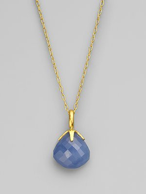 Gurhan Blue Chalcedony & 24K Yellow Gold Necklace