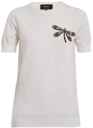 Rochas Dragonfly-appliqué cotton-knit top