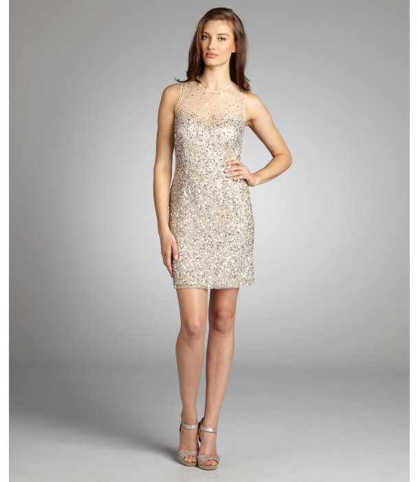 Night Way NW Nightway nude sequined illusion neckline sleeveless party dress