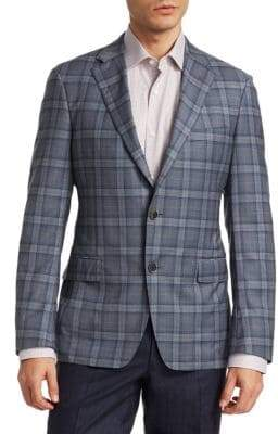 Saks Fifth Avenue Men's COLLECTION BY SAMUELSOHN Wool Plaid Jacket - Blue - Size 40 R