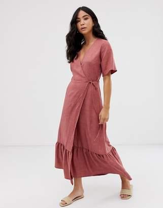 New Look linen tiered wrap dress in dusty rose
