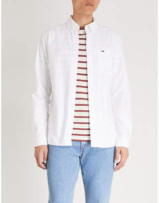 Tommy Jeans Logo-embroidered cotton-poplin shirt