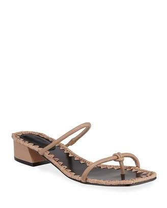 Mara & Mine Inez Low-Heel Leather Thong Sandals