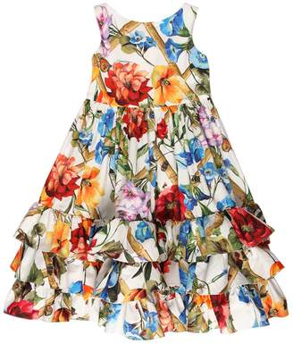 Dolce & Gabbana Floral Print Ruffled Cotton Poplin Dress