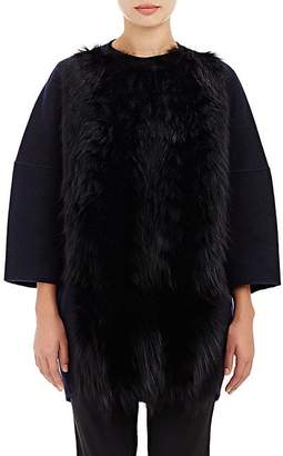 Barneys New York Women's Fur-Front Melton Coat - Navy