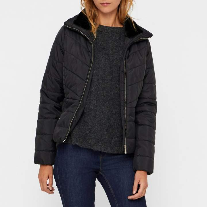 Short Quilted, Padded Jacket with Fur Lining