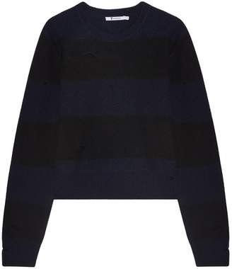 Alexander Wang Striped Knit Sweater with Holes