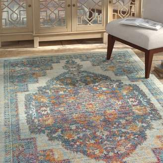 Bungalow Rose Quinlan Distressed Traditional Ivory/Aqua/Red Area Rug