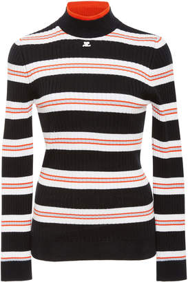 Courreges Striped Rib-Knit Sweater