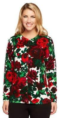 Isaac Mizrahi Live! Festive Rose Floral Printed Cardigan