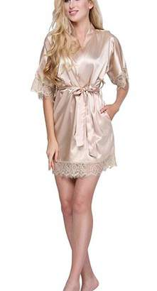YOYOBABY Dressing Gown Women Short Satin Bride Robe Lace Silk Kimono M
