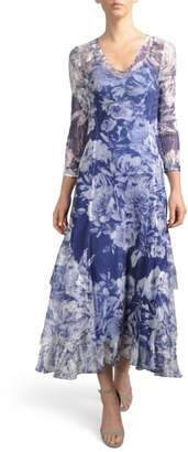 Komarov Floral Charmeuse & Chiffon A-Line Dress