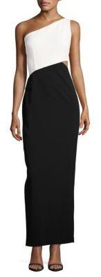 Calvin KleinColorblock One Shoulder Gown