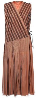 Bottega Veneta Pleated Striped Tulle Midi Wrap Dress