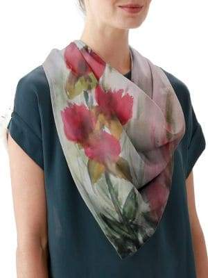 VIDA Flowers in the Wind Silk Square Scarf