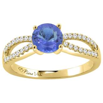 Sabrina Silver 14K Yellow Gold Diamond Natural Tanzanite Engagement Ring Round 7 mm, size 5.5