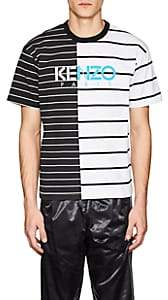 Kenzo MEN'S LOGO-PRINT SPLIT-STRIPED COTTON T-SHIRT-STRIPE SIZE XL