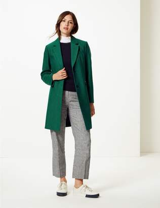 Marks and Spencer Wool Blend Herringbone Coat