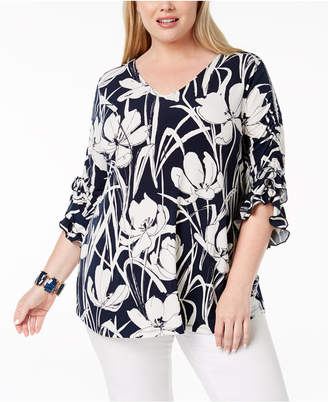 Alfani Plus Size Plus Size Ruched-Sleeve Tunic, Created for Macy's